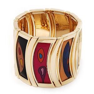 【送料無料】イタリアン ブレスレット パターンストレッチブレスレットampia pattern geometrico stretch bracciale in goldtone metallofino a 19cm lunghezza