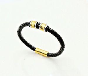 【送料無料】イタリアン ブレスレット ゴールドストライプビーズブレスレットoro lucido a righe perline braccialetto in pelle