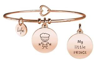 【送料無料】イタリアン ブレスレット スチールブレスレットゴールドピンクファミリーkidult bracciali acciaio gold pink family boy 731018