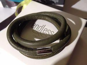 【送料無料】イタリアン ブレスレット ブレスレットシルバーワイヤバックルendless jewelry verde braccialetto a tre fili fibbia in argento 57cm rrp 55