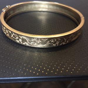 【送料無料】イタリアン ブレスレット ブレスレットアールデコアールヌーボーancien bracelet jonc bijou plaqu or 192030 dcor de feuilles art dco nouveau