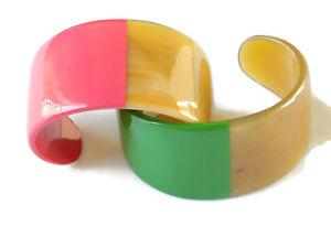 【送料無料】イタリアン ブレスレット バッファローナチュラルホルンカフオープンbracciale aperto bicolore in corno naturale di bufalo