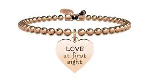 【送料無料】イタリアン ブレスレット ブレスレットスチールバラkidult bracciali acciaio pvd rose cuore amore a prima vista 731426
