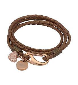 【送料無料】イタリアン ブレスレット ブロンズローズブレスレットdonna bronzo pelle zirconi cubici amp; rose gold plated avvolgere intorno braccialetto