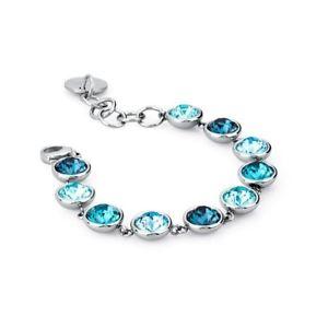 【送料無料】イタリアン ブレスレット カフスチールbrosway ,bracciale etring, acciaio con swarovsky azzurri btn14, nuov0