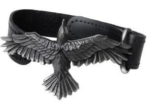 【送料無料】イタリアン ブレスレット コルボストラップゴシックnero consort con le ali corvo pelle cinturino da polso alchemy gothic a109