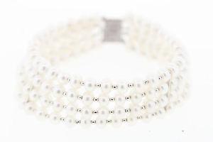 【送料無料】イタリアン ブレスレット スターリングシルバービーズホワイトボタンブレスレットワイドnuova inserzione4strand argento sterling cfwp bianco bottone braccialetto di perle 22mm largo