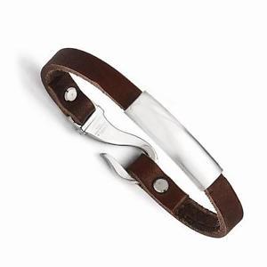 【送料無料】イタリアン ブレスレット ステンレススチールロックフックデザインアイデンティティカフacciaio inox pelle marrone gancio serratura design identit nome bracciale