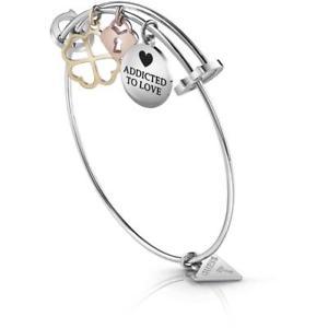 【送料無料】イタリアン ブレスレット メタルブレスレットハートゴールドbracciale rigido donna guess ubb85056 acciaio charms quadrifoglio cuore gold