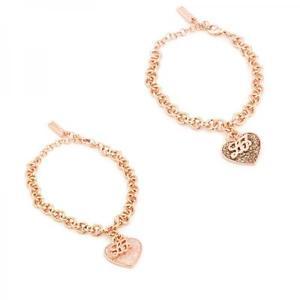 【送料無料】イタリアン ブレスレット カフリュジョベージュローズゴールドbracciale donna liu jo luxury illumina acciaio ros glitter beige rose gold