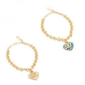 【送料無料】イタリアン ブレスレット カフリュジョゴールドセレステbracciale donna liu jo luxury illumina acciaio gold dorato glitter celeste heart