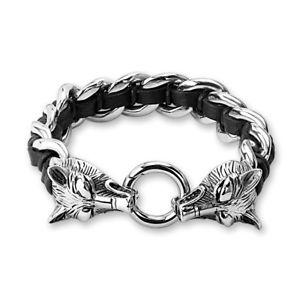 【送料無料】イタリアン ブレスレット ステンレススチールバイカーカフオオカミカフリングブレスレット…coolbodyart bracciale in acciaio inox biker bracciale anelli bracciale mystic con lupo wol