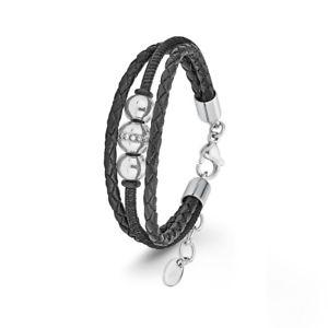 【送料無料】イタリアン ブレスレット オリバージュエルスチールブレスレットレザーブラックsoliver jewel donna bracciale in acciaio pelle nero 2022659