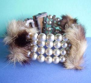 【送料無料】イタリアン ブレスレット ブレスレット2590 bracelet perles fantaisie et fourrure