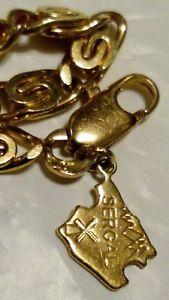 【送料無料】イタリアン ブレスレット kリンクチェーンブレスレットボックスsergal 75018k oro placcato s link chain amp; bracciale con charm in confezione regalo ***