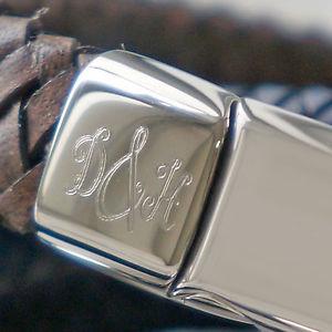 【送料無料】イタリアン ブレスレット モノグラムブレスレットda uomo monogramma iniziale braccialetto in pelle vari colori