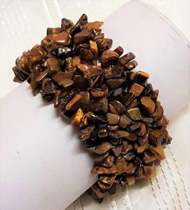 【送料無料】イタリアン ブレスレット ビンテージブレスレットマンシェットデティグレgbijou vintage bracelet manchette oeil de tigre extensible elastique 76 g 150u