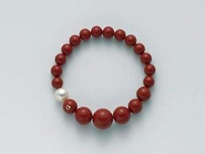 【送料無料】イタリアン ブレスレット カフテラマーレコーラルビーズbracciale miluna terra mare pbr1802 perle corallo rosso elastico donna