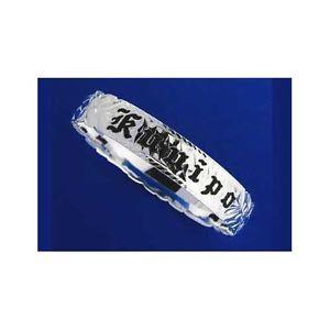 【送料無料】イタリアン ブレスレット シルバーハワイアンメタルブレスレットエナメルフォームエッジスクロールargento 925 hawaiano bracciale rigido smalto nero kuuipo scorrere forma edge 8mm