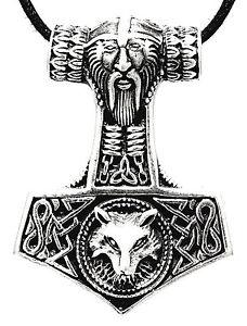 【送料無料】イタリアン ブレスレット シルバーペンダントネックレスウルフヘッドハンマーmartello di thor argento 925 ciondolo odin collana lupo testa 144