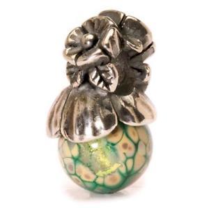 【送料無料】イタリアン ブレスレット オリジナルビーズガラスシルバーtrollbeads original beads argento vetro non ti scordar di me con bocciolo tagbe