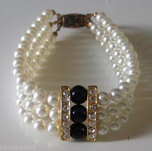 【送料無料】イタリアン ブレスレット ブレスレットノワールbijou ancien bracelet perle blanche verre noir strass mtal dor a9
