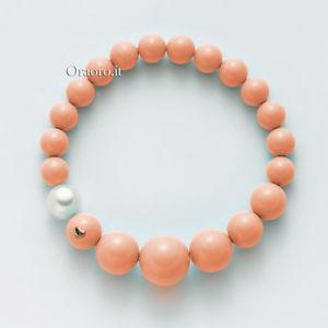 【送料無料】イタリアン ブレスレット コーラルピンクゴールドbracciale elastico donna miluna terra e mare perla corallo rosa oro pbr2392