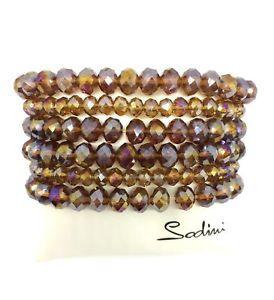 【送料無料】イタリアン ブレスレット トスカーナオレンジアートsodini  bracciale elastico con cristalli cangianti ambra art 531343x donna