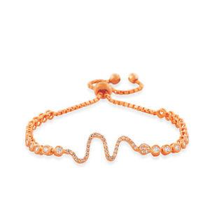 【送料無料】イタリアン ブレスレット スターリングシルバートーンピンクゴールドargento sterling tonalit oro rosa cristalli bianchi serpente donna