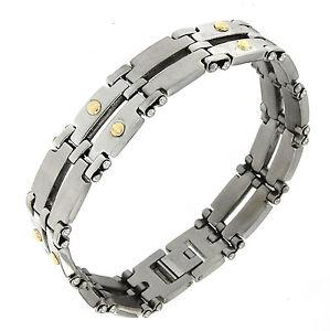 【送料無料】イタリアン ブレスレット ktゴールドステンレススチールカフブレスレットbracciale per uomo in acciaio anallergico riporti in oro 18kt braccialetto