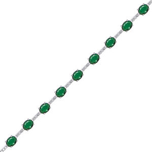 【送料無料】イタリアン ブレスレット ラウンドテニスブレスレットsilver green ovale tondo cz eternity bracciale tennis alternato
