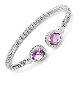 【送料無料】イタリアン ブレスレット スターリングシルバーアメジストブレスレットnuovo hallmarked argento sterling ametista amp; zirconi coppia donna braccialetto