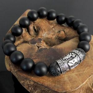 【送料無料】イタリアン ブレスレット エネルギーブレスレットオニキスシルバーenergia positiva bracciale onice nera roccia lavica s925 argento meditazione