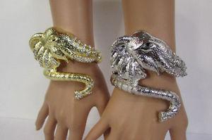 【送料無料】イタリアン ブレスレット シルバーゴールドメタルヘッドカフブレスレットシックファッションdonna argento oro elefante testa metallo polso polsino braccialetto moda chic
