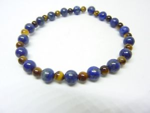 【送料無料】イタリアン ブレスレット ブレスレットデティグレラピスラズリbracelet protection oeil de tigre,lapis lazuli perles rondes 84 mm