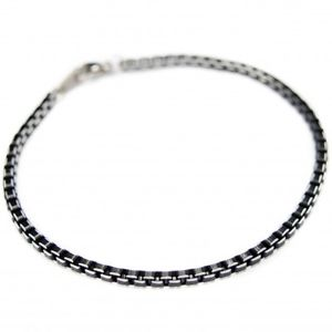 【送料無料】イタリアン ブレスレット チェーンブレスレットスクエアメッシュa catena braccialetto con dei maglie quadrati neri, per uomo e la donna