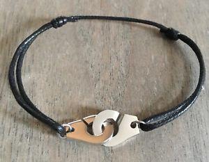 【送料無料】イタリアン ブレスレット ブレスレットシュルコルドンドコトンノワールアルジェントle bracelet du moment menottes sur cordon de coton reglable noir en acier argent