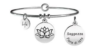 【送料無料】イタリアン ブレスレット ブレスレットスチールkidult bracciali acciaio nature fiore di lotosaggezza 231608