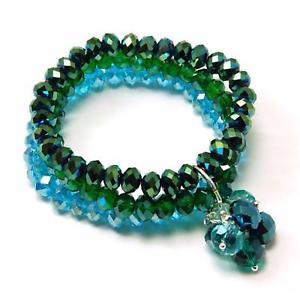 【送料無料】イタリアン ブレスレット プリズムトリプルブレスレットペンダントkleshna prisma swag triplo filo verde blu strass braccialetto con ciondolo