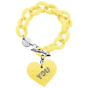 【送料無料】イタリアン ブレスレット ポリカーボネートビアンキカフbracciale kulto sweethearth giallo in policarbonato e strass bianchi
