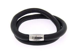 【送料無料】イタリアン ブレスレット スチールスキンロックダブルブレスレットnuova infinito nero doppio braccialetto in pelle acciaio serratura 38cm191cm