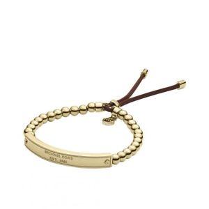 【送料無料】イタリアン ブレスレット ミハエルプラークゴールドカフストレッチブレスレットビーズmichael kors mkj3343710 placca stretch bracciale braccialetto in oro con perline donna