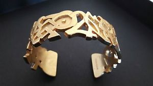 【送料無料】イタリアン ブレスレット ブレスレットヴィンテージゴールドカフブレスレットjoli bracelet vintage couture mtal dor sign rochas gold cuff bracelet signed