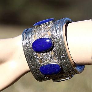 【送料無料】イタリアン ブレスレット トライバルカフヘムベリーダンスラピスラズリturkoman tribale artigianale bracciale a polsino danza del ventre lapislazzuli
