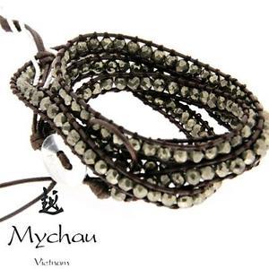 【送料無料】イタリアン ブレスレット シルバーベトナムカフmychau bracciale vietnamita in argento e pirite bhs7033