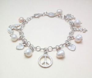 【送料無料】イタリアン ブレスレット シルバーペンダントハンドメイドbracciale da donna in argento 925 con perle e ciondoli fatto a mano b126