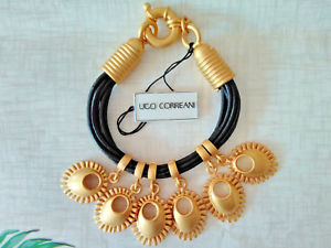 【送料無料】イタリアン ブレスレット カフビンテージオリジナルゴールドブレスレットbracciale vintage correani originale anni 80 charms oro e nero bracelet