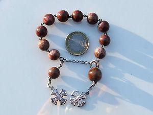 【送料無料】イタリアン ブレスレット ボーブレスレットアルジェントbeau bracelet dizainier ancien xixme en argent avec grosse perle en jaspe 19cm