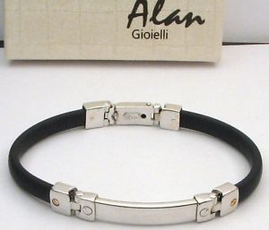 【送料無料】イタリアン ブレスレット メンズブレスレットアランスターリングシルバーゴムmens braceletalan sterling silver amp; rubber