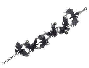 【送料無料】イタリアン ブレスレット ワタリガラスピューターストラップチェーンstormo corvi nero delicato peltro cinturino a catena cristalli a101 alchemy